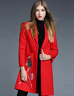 YBKCP Women's Casual/Daily Simple CoatEmbroidered Notch Lapel Long Sleeve Fall Red Wool / Acrylic / Polyester