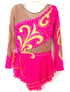 Ice Skating Dress Women's / Kid's Long Sleeve Skating Dresses High Elasticity Figure Skating Dress Breathable / ComfortableLace /