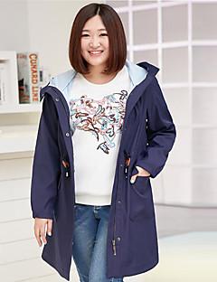 Damen Solide Einfach Lässig/Alltäglich / Übergröße Trenchcoat,Herbst Mit Kapuze Langarm Blau / Rosa Mittel Polyester