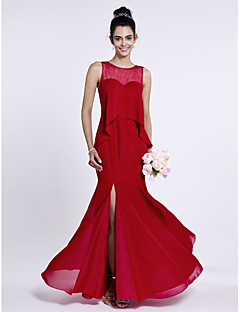 Lanting Bride® Floor-length Chiffon Bridesmaid Dress - Trumpet / Mermaid Jewel with Buttons / Split Front
