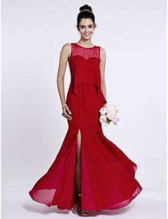 Lanting Bride® עד הריצפה שיפון שמלה לשושבינה - בתולת ים \ חצוצרה עם תכשיטים עם כפתורים / שסע קדמי