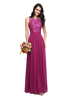 2017 Lanting Bride® Floor-length Chiffon / Lace Beautiful Back Bridesmaid Dress - A-line Jewel with Sash