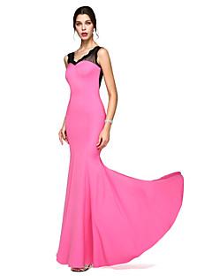 Trompet / Deniz Kızı V-Yaka Yere Kadar Dantelalar Jarse Balo Resmi Akşam Elbise ile Dantel tarafından TS Couture®