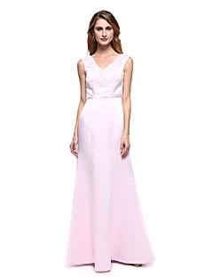 Lanting Bride® A-Linie Brautmutterkleid - Elegant Boden-Länge Ohne Ärmel Satin  -  Applikationen / Perlstickerei / Schärpe / Band