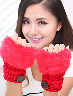 kvinders simple fuzzy strik håndled længde halv finger sød / part / afslappet vinterhandsker