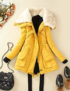 Women's Down Coat,Simple Casual/Daily Solid-Polyester Cotton Long Sleeve Pink / Green / Yellow