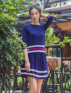 Kadın Yünlü / Pamuklu Uzun Kollu Yuvarlak Yaka Sonbahar Çizgili Sade Günlük/Sade Mavi-Kadın Tişört Etek Suit