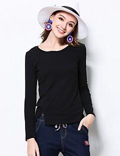 Dames Street chic Winter T-shirt,Casual/Dagelijks / Grote maten Effen Ronde hals Lange mouw Rood / Zwart / Bruin Katoen / Spandex Medium