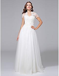 LAN TING BRIDE גזרת A שמלת חתונה - קלסי ונצחי פתוח בגב עד הריצפה צווארון וי טול עם אפליקציות חרוזים סרט