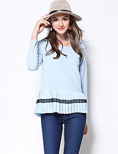 Dames Eenvoudig Herfst / Winter T-shirt,Casual/Dagelijks / Grote maten Effen Ronde hals Lange mouw Blauw Polyester