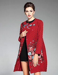 Manteau Femme,Broderie Décontracté / Quotidien / Grandes Tailles Chinoiserie Manches Longues Col Arrondi Bleu / Rouge / Vert Polyester