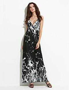 קיץ כותנה / פוליאסטר שחור ללא שרוולים מקסי כתפיה משובץ דמקה בוהו חג / מידות גדולות שמלה סווינג נשים