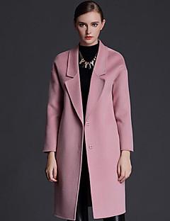Casual/hétköznapi Egyszerű Őszi-Női Kabát,Egyszínű Hasított rever Hosszú ujj Rózsaszín / Szürke Gyapjú Közepes vastagságú
