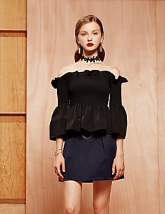 女性 カジュアル/普段着 春 シャツ,シンプル ボートネック ソリッド ブラック コットン 七部袖