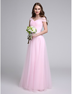 LAN TING BRIDE В пол Приспущенные плечи Платье для подружек невесты - Элегантный стиль Без рукавов Тюль