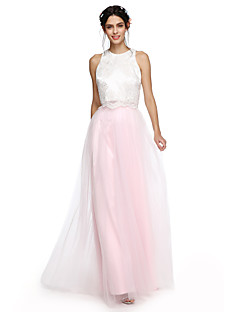 2017 Lanting Bride® Floor-length Satin / Tulle Two Pieces Bridesmaid Dress - A-line Jewel with Appliques