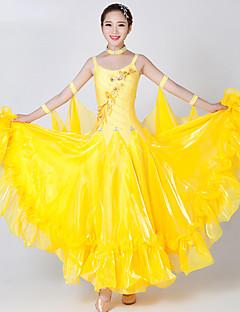 Dança de Salão Vestidos Mulheres Actuação Elastano Tule Recortes 2 Peças Sem Mangas Vestido Neckwear