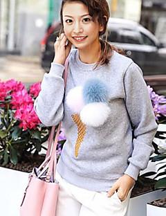 Damen Standard Pullover-Ausgehen / Lässig/Alltäglich Niedlich Solide Blau / Rot / Weiß / Braun / Grau Rundhalsausschnitt Langarm Baumwolle