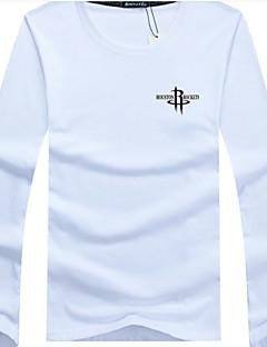 男性 カジュアル/普段着 秋 Tシャツ,シンプル ラウンドネック レタード ブルー レッド ホワイト ブラック グレイ グリーン コットン 長袖