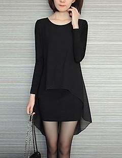 Dámské Jednoduché Běžné/Denní / Velké velikosti Volné Šaty Jednobarevné,Dlouhý rukáv Kulatý Asymetrické Černá Umělé hedvábí / Polyester