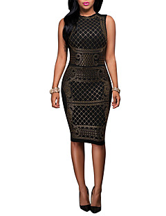 Women's Casual/Daily / Club Vintage / Street chic Bodycon DressPatchwork Hot Fix Rhinestone Round Neck Knee-length Sleeveless