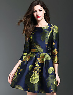 Women's Casual/Daily Vintage A Line Dress,Jacquard Round Neck Above Knee ¾ Sleeve Blue Polyester Fall Winter Mid Rise Inelastic Medium