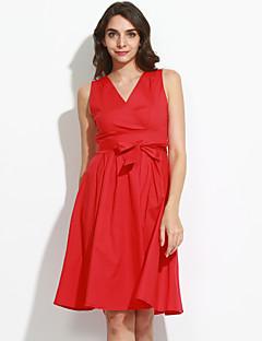 Dames Casual/Dagelijks / Grote maten Vintage Schede Jurk Effen-V-hals Maxi Mouwloos Rood Katoen / Polyester Zomer Medium taille