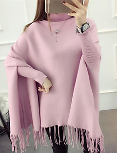 Women's Casual/Daily Cute Regular Cardigan,Solid Blue Pink Red Black Brown Gray Turtleneck Long Sleeve Polyester Spandex Fall Winter