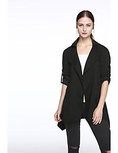Mulheres Casaco Trench Casual Plus Sizes / Moda de Rua Primavera,Sólido Preto / Verde Raiom / Poliéster Colarinho de Camisa-Manga Longa
