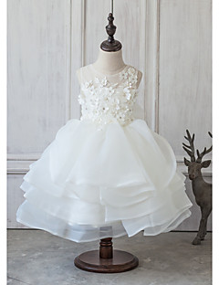 Ball Gown Knee-length Flower Girl Dress - Polyester/Cotton/Chinlon Sleeveless Scoop Neck With Flower(s)/Bow(s)