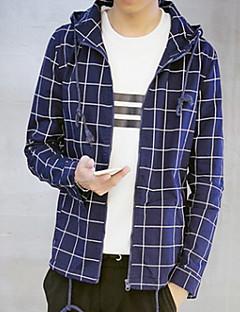Herren Verziert Einfach Lässig/Alltäglich Jacke,Sommer Herbst Ständer Langarm Blau Weiß Mittel Kunstseide