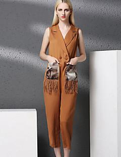 Damen Breites Bein Overall-Lässig/Alltäglich Retro Solide V-Ausschnitt Ärmellos Mittlere Hüfthöhe Polyester Unelastisch Herbst