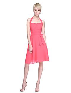 Lanting Bride® באורך  הברך שיפון גב יפהפייה שמלה לשושבינה  - גזרת A קולר עם פפיון(ים) / סלסולים / קפלים