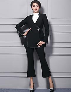 Femme Boot Cut Chino Pantalon,Street Chic Décontracté / Quotidien Soirée Couleur Pleine Taille Normale fermeture Éclair Polyester