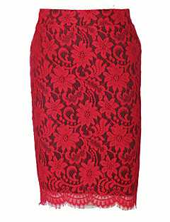 Women's Plus Size Bodycon Solid Lace / Split SkirtsCasual/Daily / Club Vintage / Street chic Split Slim High Rise Knee-length Elasticity