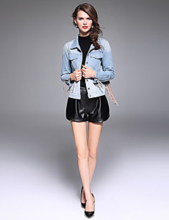 XSSL Women's Going out / Casual/Daily / Holiday Sexy / Street chic / Punk & Gothic Denim JacketsSolid Shirt Collar Long Sleeve Spring / Fall