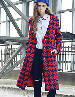 M Women's Casual/Daily Street chic CoatHoundstooth V Neck Long Sleeve Winter Red Green Wool Polyester