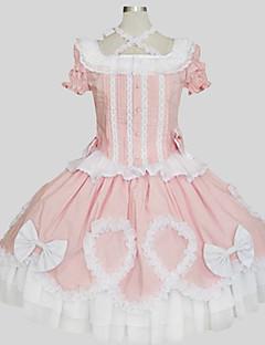 תלבושות לוליטה מתוקה נסיכות Cosplay שמלות לוליטה ורוד אחיד שרוול קצר אורךTea עליון חצאית ל נשים כותנה