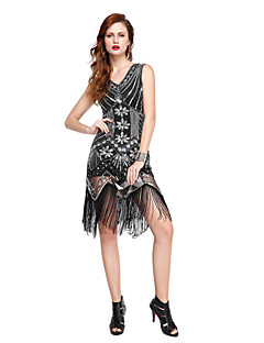 Cocktail Party Dress A-line V-neck Knee-length Sequined with Sequins Tassel(s)