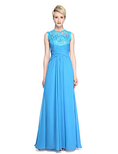 2017 Lanting Bride® Floor-length Chiffon Lace See Through Bridesmaid Dress - Sheath / Column Jewel with Side Draping Criss Cross Pleats