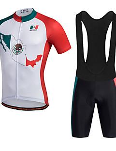 ספורטיבי חולצת ג'רסי ומכנס קצר ביב לרכיבה לגברים שרוול קצר אופנייםנושם ייבוש מהיר חדירות ללחות חומרים קלים 3D לוח רצועות מחזירי אור מפחית