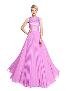 2017 Lanting Bride® Floor-length Chiffon Lace Elegant Bridesmaid Dress - A-line Bateau with Pleats