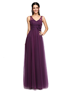 2017 Lanting Bride® Floor-length Tulle Elegant Bridesmaid Dress - A-line V-neck with Flower(s)