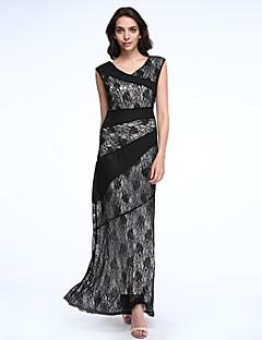 Women's Party/Cocktail Boho Plus Size / Lace Dress,Floral Round Neck Maxi Sleeveless Black Spandex Spring