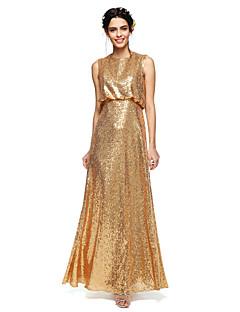 2017 לנטינג ניצוץ פאייטים מרצפת אורך bride®& לזרוח שמלת השושבינה - נדן / טור תכשיט עם פאייטים