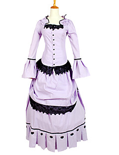 Outfits Gothic Lolita Vintage Inspired Cosplay Lolita Dress Light Purple Solid Long Sleeve Ankle-length Tuxedo For Charmeuse