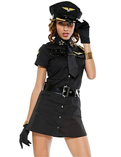 Cosplay Costumes Party Costume Police Career Costumes Festival/Holiday Halloween Costumes White Black Solid Dress Cravat Belt Hats