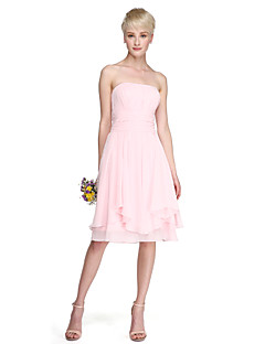 A-Line Princess Strapless Knee Length Chiffon Bridesmaid Dress with Draping Ruching by LAN TING BRIDE®