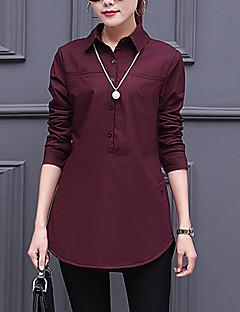 Feminino Camisa Social Casual / Trabalho Simples Outono / Inverno,Sólido Vermelho / Branco / Preto Algodão / Raiom Colarinho de Camisa
