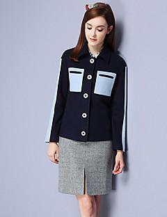 Ull Akryl Polyester Blå Langermet,Skjortekrage Frakk Fargeblokk Enkel Fritid/hverdag-Vinter Dame